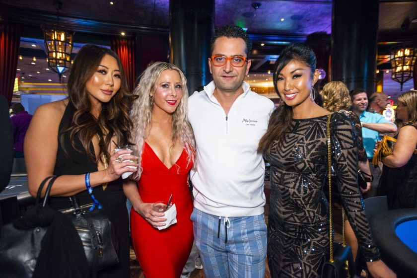 Maria Ho, Traci Szymanski, Antonio Esfandiari, and Ivy Teves at Tiger's Poker Night