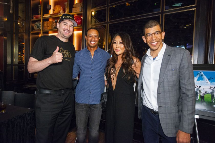 Phil Hellmuth, Tiger Woods, Maria Ho, and Adam Pliska at Tiger's Poker Night