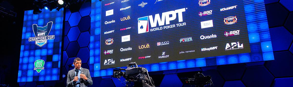 World Poker Tour, WPT Sponsors: Zynga Poker, Hublot, Baccarat, Faded Spade, BBO Poker Tables, Athletic Propulsion Labs, Lolё,  Moraga Bel Air, Mugo, Quanta CBD, Escobar Cigars