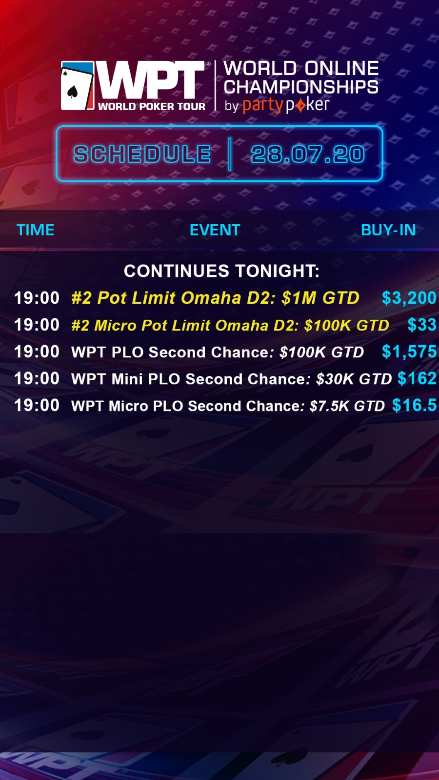 Tonight's schedule