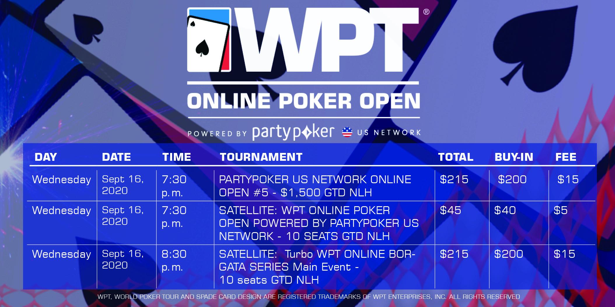 WPT Online Borgata Series Wednesday Schedule